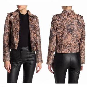 Walter Baker Lamb Leather Cheetah Moto Jacket
